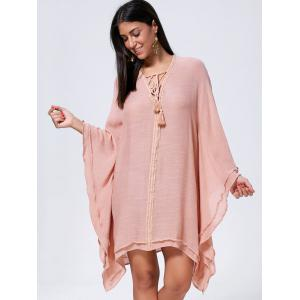 Lace Up Batwing Sleeve Oversized Kaftan Dress - CAMEO M