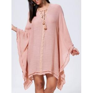 Lace Up Batwing Sleeve Oversized Kaftan Dress - Cameo - S