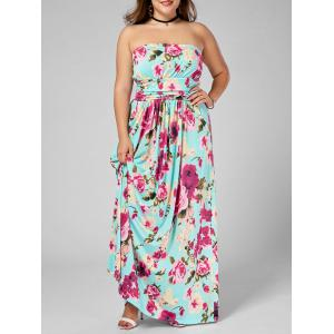 Floor Length Plus Size Floral Bandeau Summer Dress - Multi - 5xl