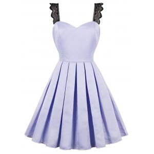 Lace Straps Faux Satin 50s Swing Dress