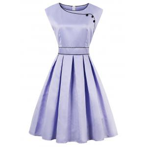 High Waist Faux Satin Sleeveless Vintage Dress - Lavender Frost - 2xl