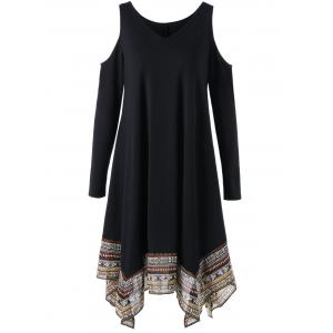Cold Shoulder Tribal Handkerchief Dress