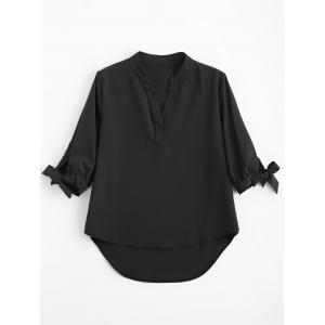 Asymmetric High Low Tied Sleeve Blouse