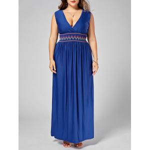 Embroidered Plus Size Maxi Plunging Neck  Evening Dress
