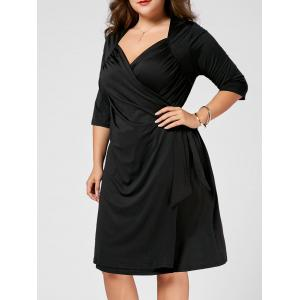Plus Size V Neck A Line Wrap Dress