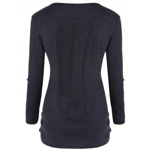 Side Ruched Long Sleeve Top with Buttons - DEEP GRAY M