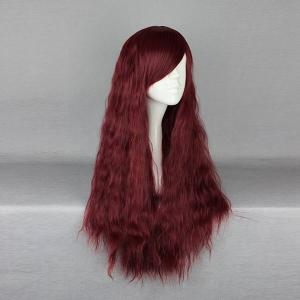 Long Inclined Bang Fluffy Yaki Straight Synthetic Wig - WINE RED