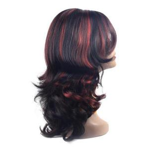 Center Parting Long Highlight Wavy Synthetic Wig - COLORMIX