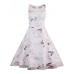 Butterfly Floral Print Organza Skater Dress