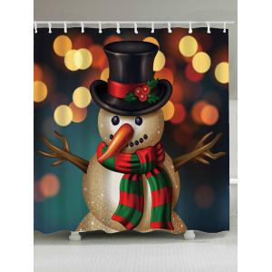 Christmas Snowman Printed Shower Curtain - Colorful - W71 Inch * L79 Inch