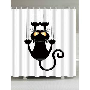 Waterproof Naughty Cat Printed Shower Curtain - White And Black - W71 Inch * L79 Inch