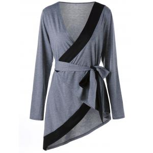Plus Size Long Sleeve Asymmetric Wrap T-shirt - Black And Grey - 4xl