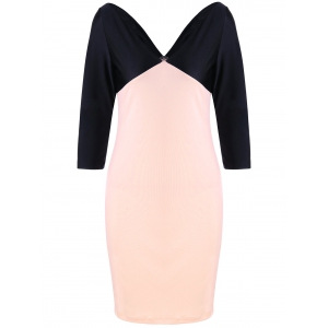 Formal V Neck Two Tone Bodycon Dress - Black And Pink - 2xl