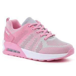 Air Cushion Color Block Breathable Athletic Shoes - Pink And Grey - 37