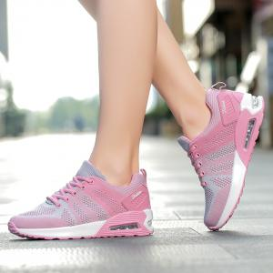 Air Cushion Color Block Breathable Athletic Shoes - PINK AND GREY 37