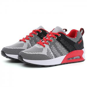 Air Cushion Color Block Breathable Athletic Shoes - BLACK AND GREY 39