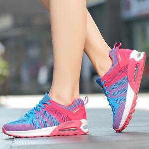 Air Cushion Color Block Breathable Athletic Shoes - BLUE AND PINK 39