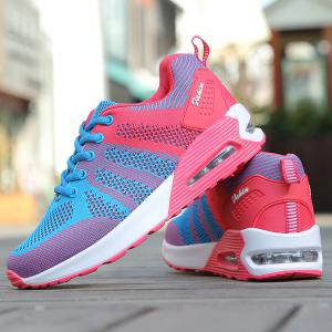 Air Cushion Color Block Breathable Athletic Shoes - BLUE AND PINK 40