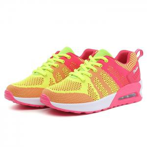 Air Cushion Color Block Breathable Athletic Shoes - FLUORESCENT YELLOW 39