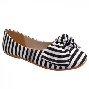 Bow Striped Round Toe Flat Shoes - White And Black - 39
