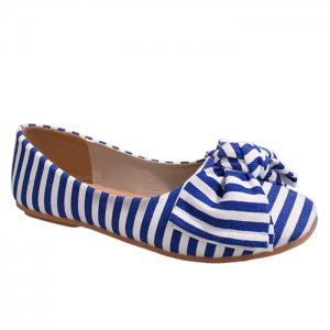 Bow Striped Round Toe Flat Shoes - Blue And White - 38