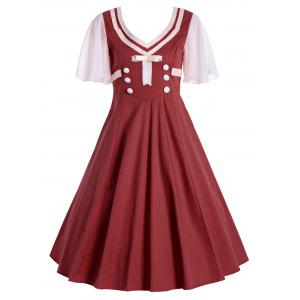 Buttons Short Flared Sleeve 50s Swing Dress