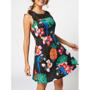 Lace Insert High Waist Sleeveless Print Dress