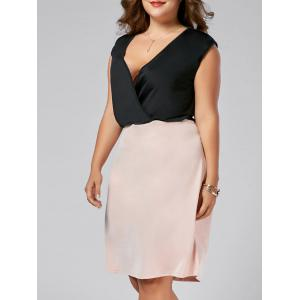Color Block Plus Size V Neck Sleeveless  Dress - Black - 7xl