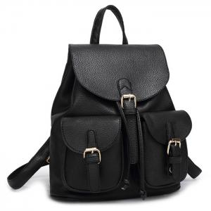 Sac à dos Faux Leather Buckles - Noir