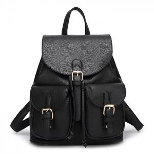 Buckles Faux Leather Backpack - Black