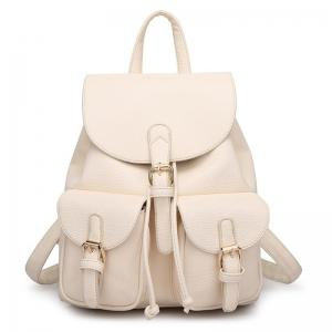 Buckles Faux Leather Backpack - Off-white - 39