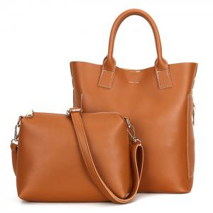 Stitching Tote Bag Set with Scarf - BROWN