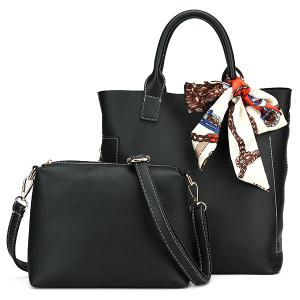 Stitching Tote Bag Set with Scarf - Black - 40