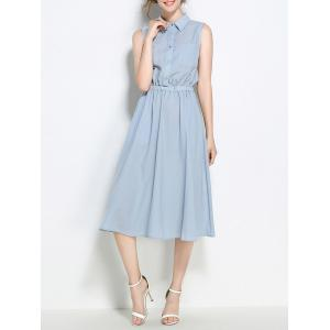 Half Buttons Elastic Wasit Sleeveless Shirt Dress