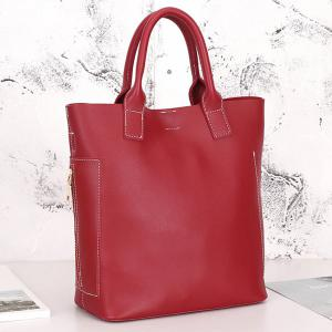 Stitching Tote Bag Set with Scarf - RED