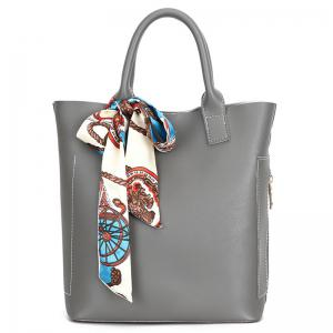 Stitching Tote Bag Set with Scarf - GRAY