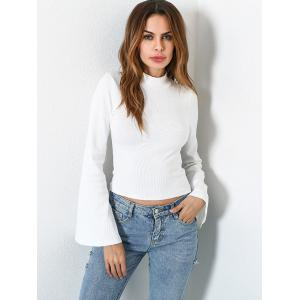 Casual Flare Sleeve Mock Neck Blouse - WHITE L