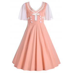 Buttons Short Flared Sleeve 50s Swing Dress - Orangepink - M