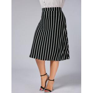 Plus Size A Line Striped Skirt