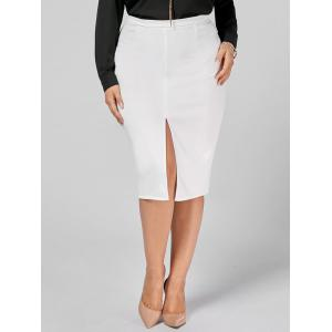 Front Slit Zip Up Plus Size Pencil Skirt
