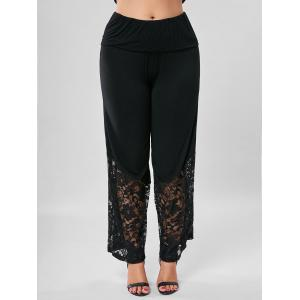 Plus Size Lace Trim Wide Leg Pants -