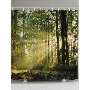Forest Trees Sunlight Print Fabric Waterproof Bathroom Shower Curtain