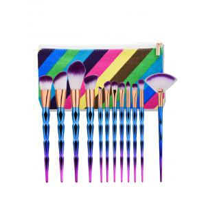 Diamond Shaped Makeup Brushes Set With Stripes Bag