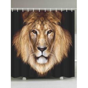 Lion Head Waterproof Fabric Shower Curtain - Coffee Brown - W71 Inch * L79 Inch