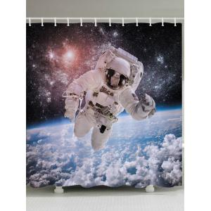 Galaxy Astronaut Print Fabric Waterproof Bathroom Shower Curtain - White - W71 Inch * L79 Inch