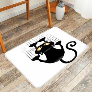 Naughty Cat Printed Skidproof Area Rug - White And Black - W20 Inch * L31.5 Inch