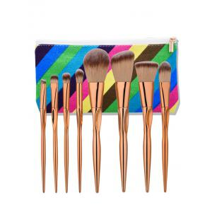 Concave Tapered Makeup Brushes Set With Stripes Bag - Rose Gold