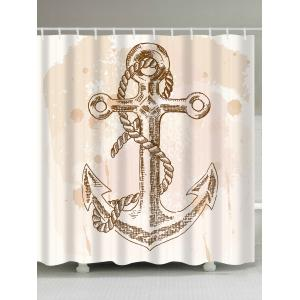 Vintage Anchor Waterproof Shower Curtain with Hooks - Light Beige - W71 Inch * L79 Inch