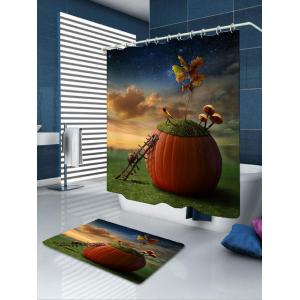 Snail Dream Pumpkin Bath Curtain and Rug