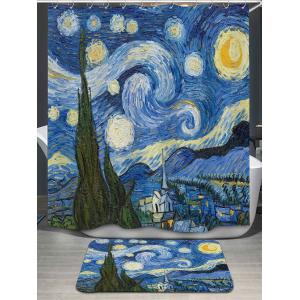 Sky Oil Painting Bath Curtain and Rug - Blue - W79 Inch * L71 Inch